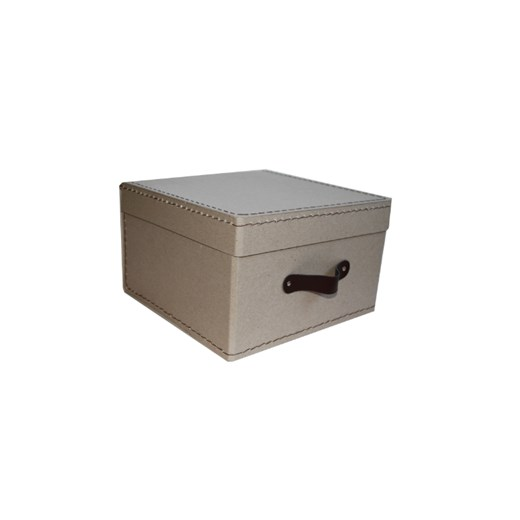 Square storage box 18 cm natural with brown handle