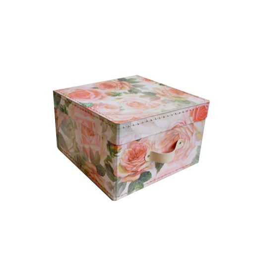 Square storage box 18 cm big roses