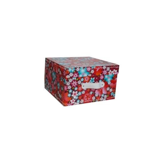 Square storage box 18 cm flowers