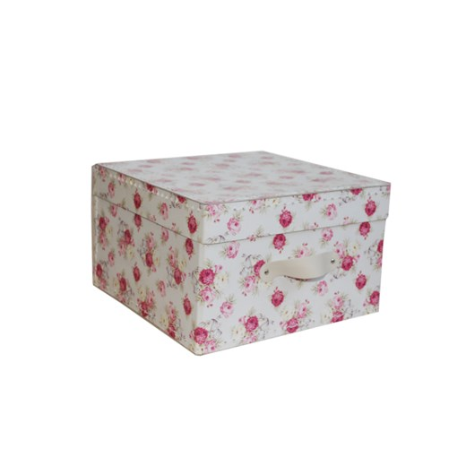 Square storage box 18 cm roses with beige handle
