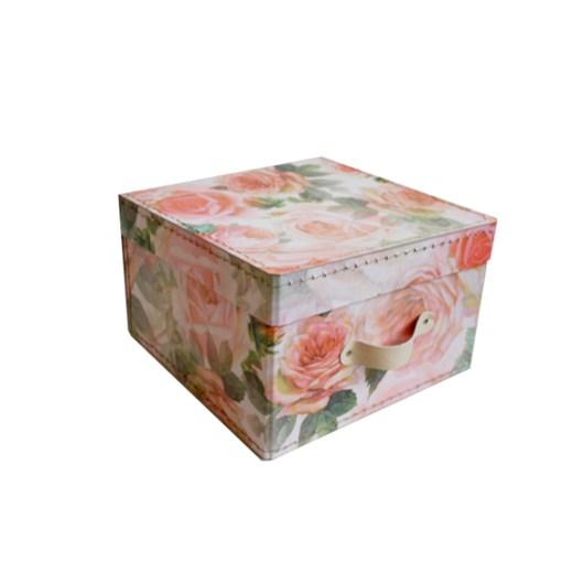 Square storage box 22 cm big roses