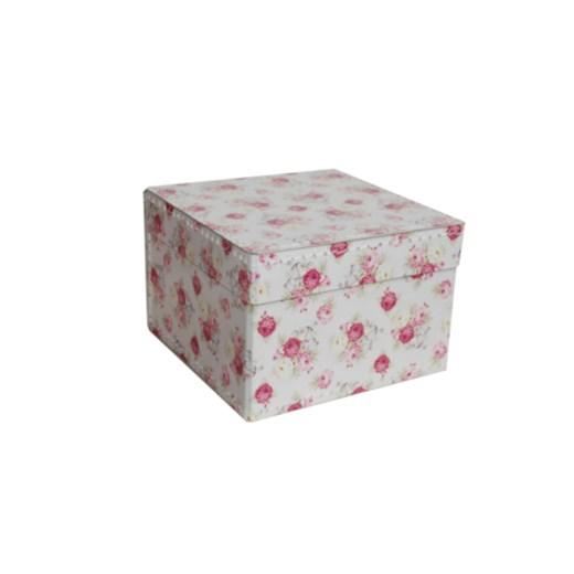 Square storage box 22 cm roses