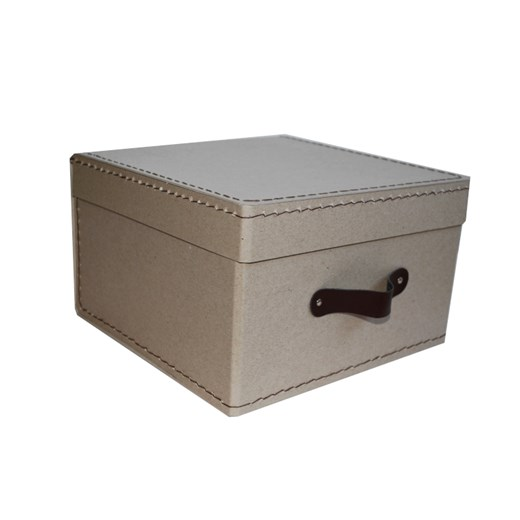 Square storage box 26 cm natural with brown handle