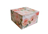 Square storage box 26 cm big roses