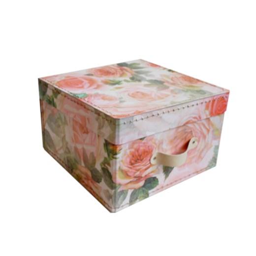 Square storage box 26 cm big roses