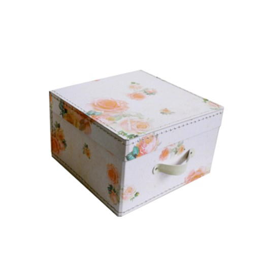 Square storage box 26 cm small roses