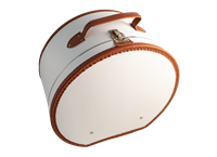 Hat box 40cm white with cognac trimming