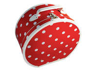 Hat box 40cm red with white dots