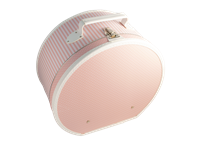 Hat box 40cm pink with white stripes and dots