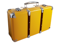 Riveted suitcase 50cm yellow