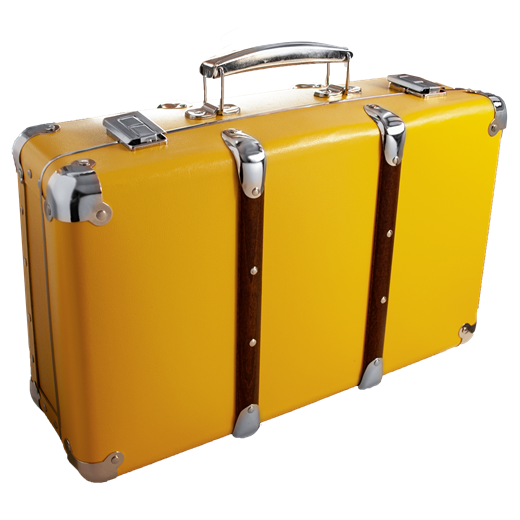 Riveted suitcase 40cm yellow