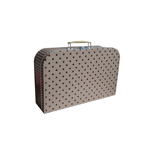 Children's suitcase 35cm natural with brown dots and stripes