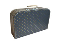 Children's suitcase 35cm grey with golden dots and stripes