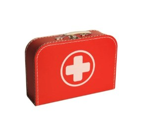 Children's suitcase 25cm red with cross