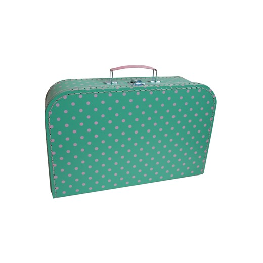 Children's suitcase 35cm green with pink dots