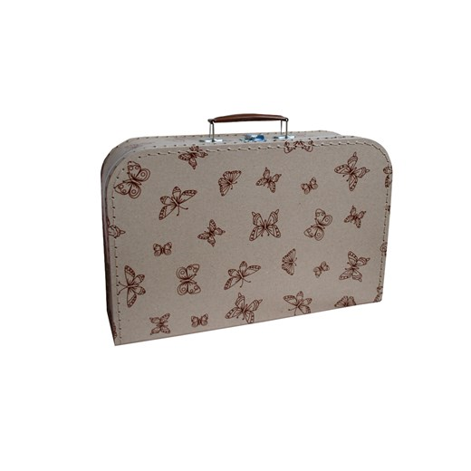 Children's suitcase 35cm natural with brown butterflies
