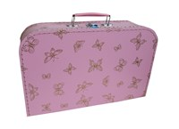 Children's suitcase 35cm pink with golden butterflies