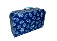 Children's suitcase 35cm blue with contour of cars