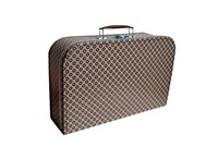 Children's suitcase 35cm natural with brown circles