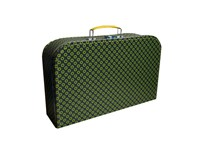 Children's suitcase 35cm grey with green circles