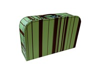 Children´s suitcase 35cm green with brown stripes