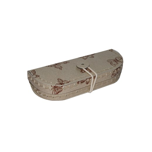 Pencil case natural with brown butterflies