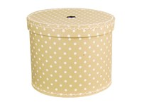 Round box 30cm natural with white dots