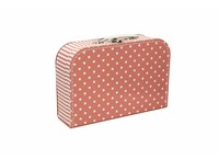 Children´s suitcase 20cm pink with dots and stripes