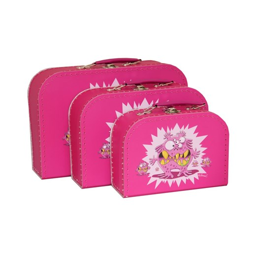 Children´s suitcase pink monsters 3-set