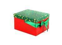 Storage Christmas box green with gold stars