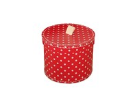 Round box 20cm red with white dots