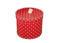 Round box 25cm red with white dots