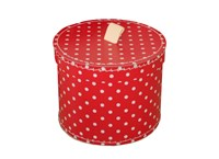 Round box 30cm red with white dots