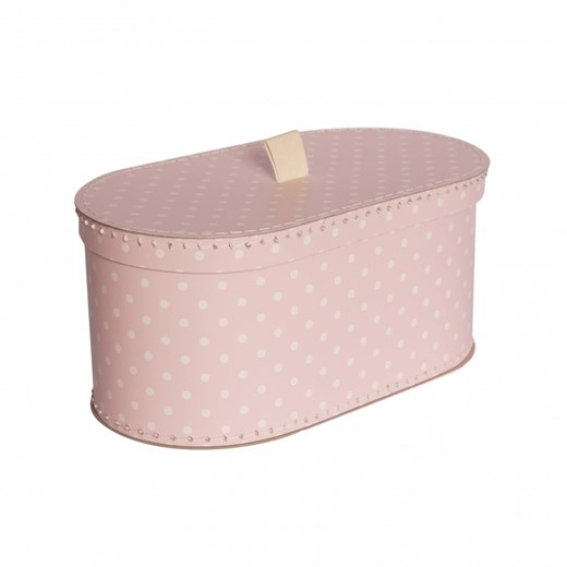 Oval box 31cm pink with dots