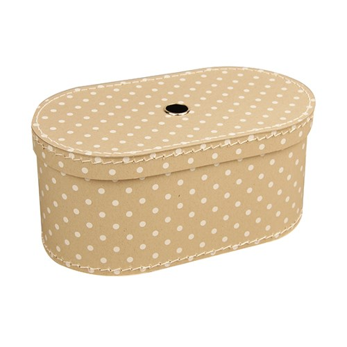 Oval box 31cm natural with dots