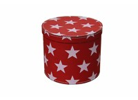 Round box 20cm red with white stars, Leitner collection