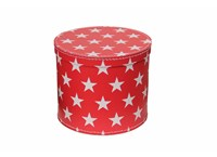 Round box 20cm red with white stars