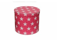 Round box 20cm pink with white stars