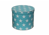 Round box 20cm blue with white stars
