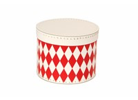 Round box 20cm white with red rhomb