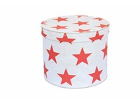 Round box 25cm white with red stars, Leitner collection