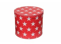 Round box 25cm red with white stars