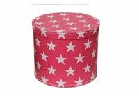 Round box 25cm pink with white stars