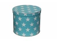 Round box 25cm blue with white stars