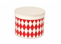 Round box 25cm white with red rhomb