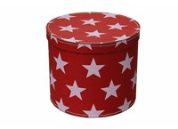 Round box 30cm red with white stars, Leitner collection