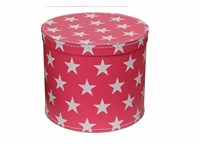 Round box 30cm pink with white stars
