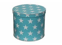 Round box 30cm blue with white stars