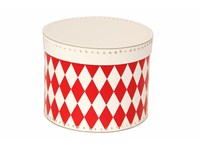 Round box 30cm white with red rhomb