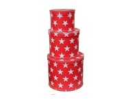 Round box red with white stars 3-set